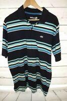 Ecko Unltd Men Short Sleeve  Polo Shirt Blue Stripe Size Medium