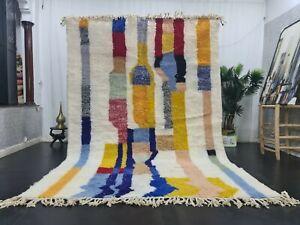 Moroccan Handmade Beni Ourain Rug 6'7x 10' Berber Abstract White Yellow Wool Rug
