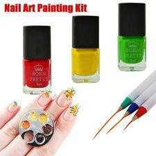 Nail Art DIY Painting Kit Stamping Polish Finger Ring Palette & Drawing Brushes