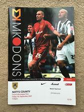 MK Dons v Notts County - Coca-Cola League 2 2007/08 Programme