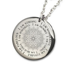 Mandala I am Mantra Necklace Laser Engraved  Stainless Steel