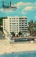 Atlantic Towers Miami Beach Florida Fl old cars circa 1950's Postcard