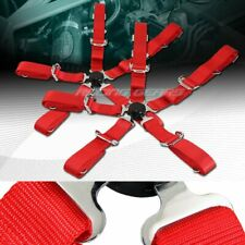 """2 X Durable Nylon 5-Point Cam Lock Safety Harness 2"""" Red Seat Belt Universal 4"""