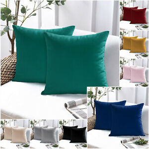 Pack of 2 Velvet Cushion Covers 18 x 18 Large Outdoor Sofa Cushion Slip Cover
