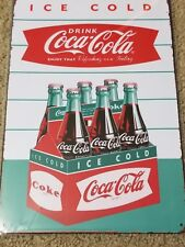 Coca Cola Tin Ice Cold Pack 6 Shield Sign Style #2