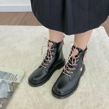Size US8 Womens Black Round Toe Ankle Motorcycle Boot Lace Up Zipper Biker Shoes