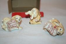 Fitz & Floyd Set of 3 Dear Santa Puppy Dog Tumblers Christmas Figurines Euc