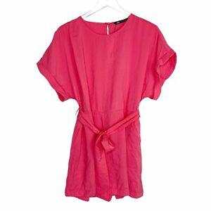 Zara Belted Short Jumpsuit Romper Sz M NWT Hot Pink