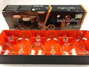New Vintage Durobor Irish Coffee Glasses Gold Rim Glass Stem Set Of 6 Very Nice