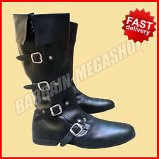 Medieval Leather Boots Black Re-enactment Mens Larp Role Play Costume Boot