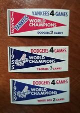 (3) 1961 Fleer Baseball Greats World Series Pennant inserts. Yankees and Dodgers