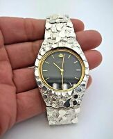 "925 Sterling Silver Nugget Wrist Watch with Geneve Watch 8"" Graduated Band"