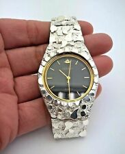 """925 Sterling Silver Nugget Wrist Watch with Geneve Watch 8"""" Graduated Band"""
