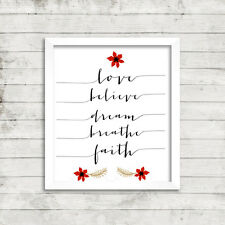 Christmas Inspirational Quote Picture Print Postcard Love believe dream breathe