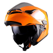 1Storm Motorcycle Modular Flip up Full Face Helmet Dual Visor Glossy Orange