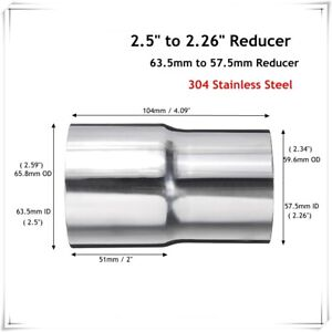 2.5'' 63mm to 2.25'' 57mm Stainless Steel Exhaust Reducer Connector Adapter Pipe