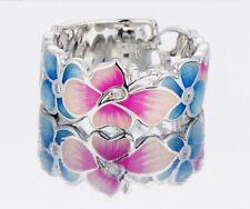 Butterfly Flower Pattern Ring Pink Blue Enamel CZ Silver Tone SZ 7 1/4 US