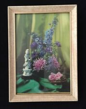 """Vintage Holographic Picture - Japanese Kwan Yin - Flowers & Draperies - 5"""" x 7"""""""
