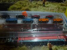 Mini Trix Autotransportwagen beladen mit 8 Modellen Nr. 15442