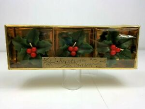 Lava Candles Scents of the Season Scented Holly Berry Figural Candles Set of 3