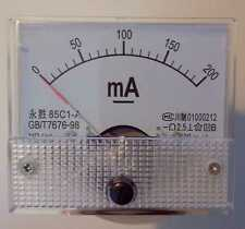0 - 200mA DC AMPEROMETRO Amp Panel Meter Analogico Analogico Chiaro Nuovo