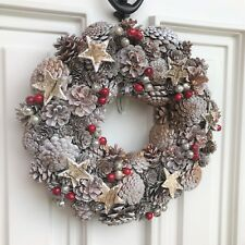 Christmas White Silver Pine Cone Star Wreath Red Berry Door Decoration 33 cm 13""