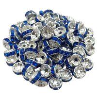 20 Perles Rondelle strass Argenté 8mm Couleur Bleu Marine Creation Bijoux