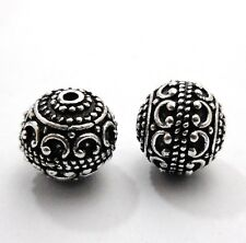 7PCS 12MM OXIDIZED STERLING SILVER PLATED 18K GOLD PLATED HANDMADE BALI BEAD 365