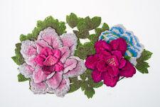 Flower Embroidered Craft Bouquet Big Flower Needlework Floral Decor Sew Iron