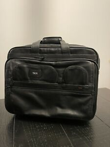 Tumi 96127DH Alpha Deluxe 2 Wheeled Black Leather Expandable Laptop Briefcase