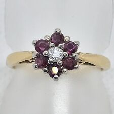18ct Yellow & White Gold Ruby & Diamond Cluster Ring
