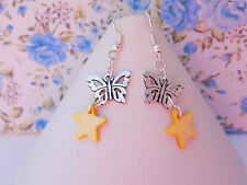 Silver Plated Butterfly Golden Yellow Star Shells Charms Hook Dangle Earrings