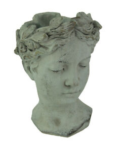 Turning Face Cement Greek Lady Head Planter