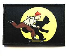 Skateboard, Tintin, Patch Morale Militaire Tactique Armée Drapeau 7,6cm x 5cm