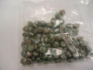 pouch,100 preciosa 2-hole clam shell glass beads,8mm lumi green w/AB coating