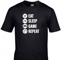 Eat Sleep Game Repeat Kids T-Shirt Funny Gaming Tee Top Gamer