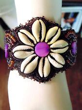 Shell Flower Bracelet Seed Beads Purple Beige Artisan Jewelry Mother's Day Gift