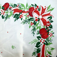 Linens CHRISTMAS Tablecloth VINTAGE Almost Square Embroidered Bow Apples 30x33