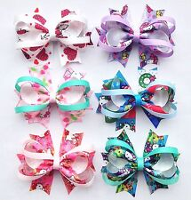 "6pc3.5"" Girl Baby Infant Dog Boutique Hair Bow Hair Barettes Clips for handband"