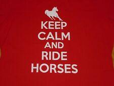 KEEP CALM AND RIDES HORSES SHIRT WOMENS MEDIUM RED
