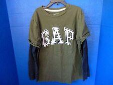 GAP KIDS~Green w/ Navy Blue Thermal Long Sleeves T-Shirt TEE~Boys Size Medium