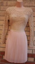 MISSGUIDED BEIGE LONG SLEEVE LACE FLARE A LINE SKATER PARTY WEDDING DRESS 8 S