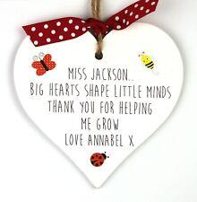 Thank You Nursery Teacher Gift Personalised Heart Plaque Childminder Preschool