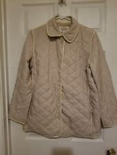 Talbot's S Women's Quilted Car Coat Camel with faux leather trim