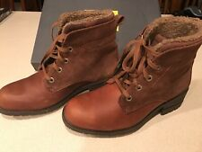 Caterpillar CAT Teegan Brown Leather Suede Lace Up Heel Ankle Boots Sz 8.5M