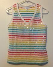 Escada Sport Top M Medium Multicolored Sequined Shirt Rainbow Gay Pride