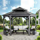 HEXAGON Gazebo Pool Patio Sun Shelter Steel Roof  14.6' x 14.6' GRAY