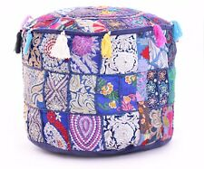 Indian Cotton Embroidered Patchwork Round Blue Ottoman Decorative Pouf Cover