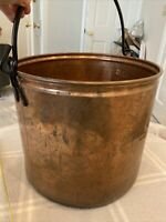 """huge brass bucket made in india planter decor hammered Gorg.  patina 12"""" X 13.5"""""""