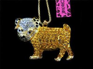 Betsey Johnson Gold Crystal Cute Bulldog Pendant Necklace Chain
